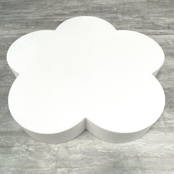 Grand Socle plat Fleur 2D en polystyrène blanc, Diamètre 50 cm x Epais. 7cm, Support pour centre de - Photo n°1
