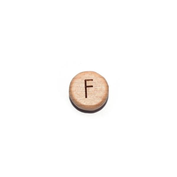 Lettre F rond plat 15 mm en bois naturel - Photo n°1