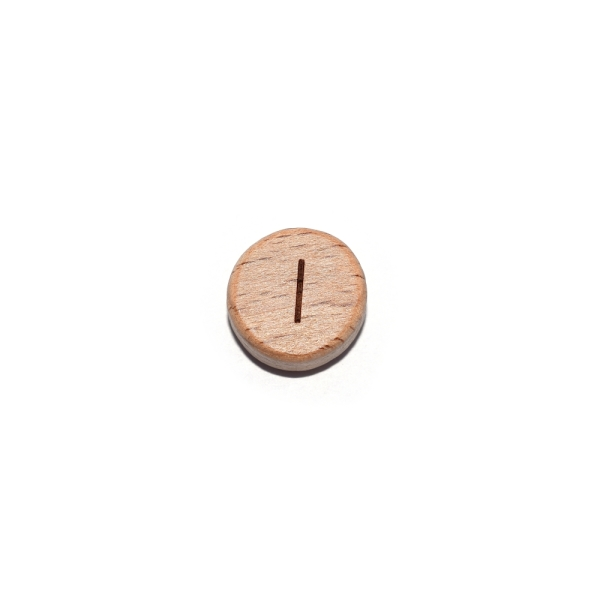 Lettre I rond plat 15 mm en bois naturel - Photo n°1