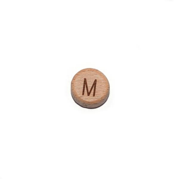 Lettre M rond plat 15 mm en bois naturel - Photo n°1
