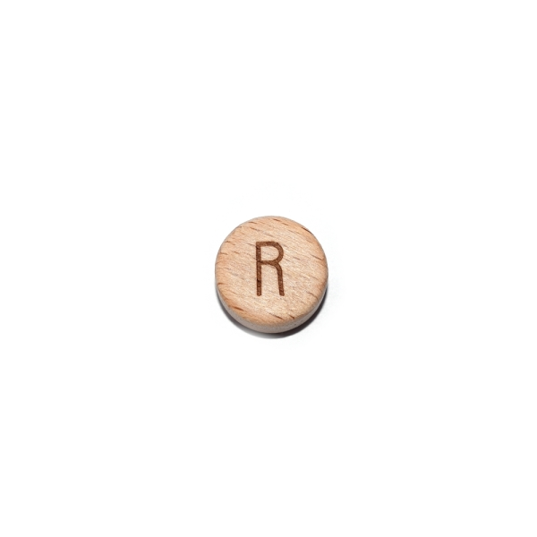 Lettre R rond plat 15 mm en bois naturel - Photo n°1
