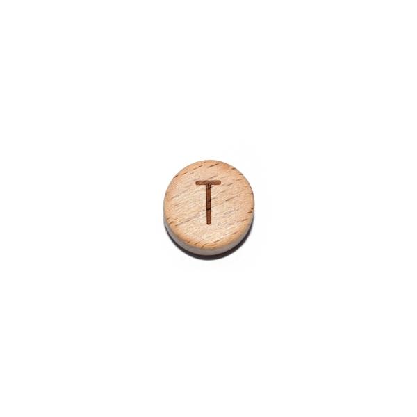 Lettre T rond plat 15 mm en bois naturel - Photo n°1