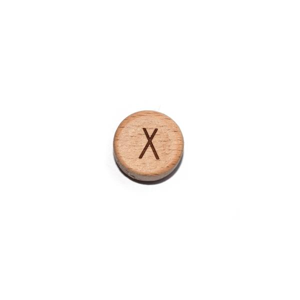 Lettre X rond plat 15 mm en bois naturel - Photo n°1