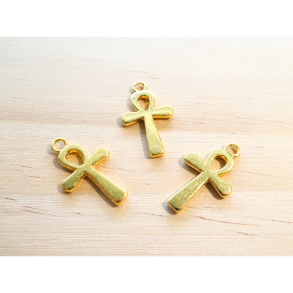 6 Breloques Croix 22*13mm doré - Photo n°1