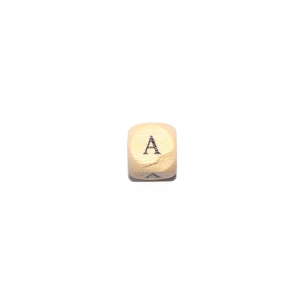 Lettre A cube 12 mm bois naturel écriture noir - Photo n°1