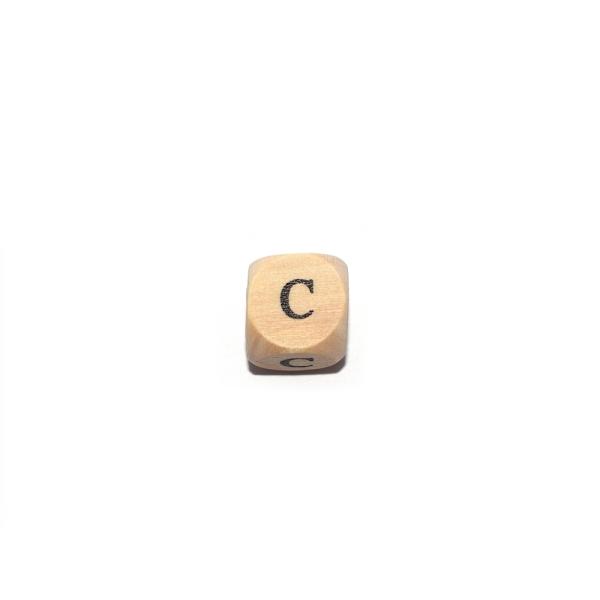 Lettre C cube 12 mm bois naturel écriture noir - Photo n°1
