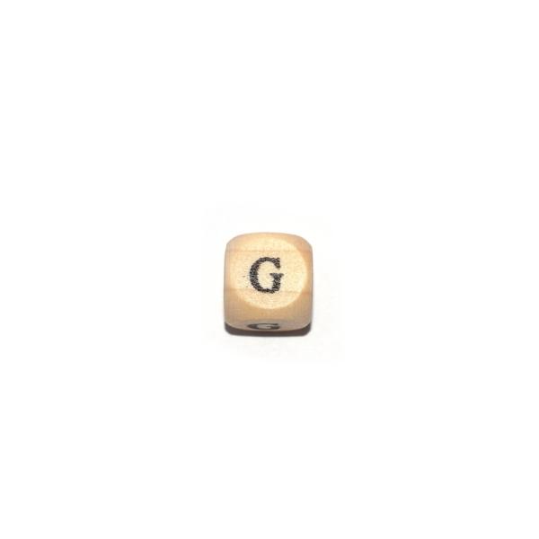 Lettre G cube 12 mm bois naturel écriture noir - Photo n°1
