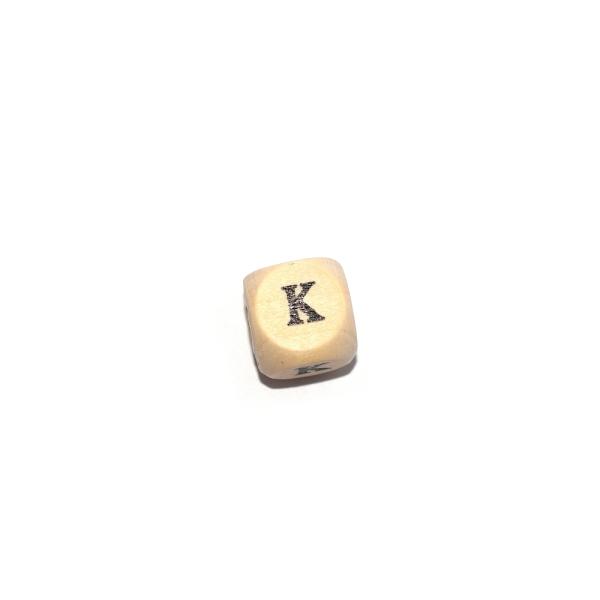 Lettre K cube 12 mm bois naturel écriture noir - Photo n°1