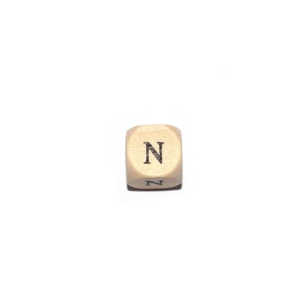 Lettre N cube 12 mm bois naturel écriture noir - Photo n°1