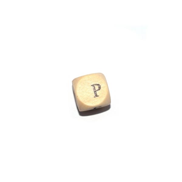 Lettre P cube 12 mm bois naturel écriture noir - Photo n°1
