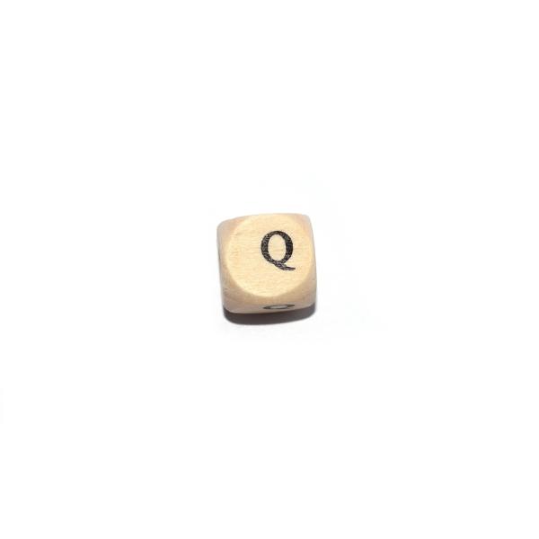 Lettre Q cube 12 mm bois naturel écriture noir - Photo n°1