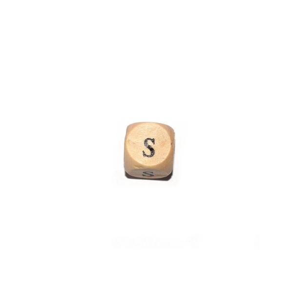 Lettre S cube 12 mm bois naturel écriture noir - Photo n°1