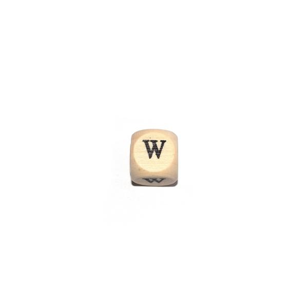 Lettre W cube 12 mm bois naturel écriture noir - Photo n°1
