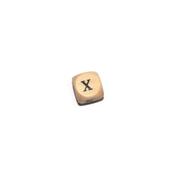 Lettre X cube 12 mm bois naturel écriture noir - Photo n°1