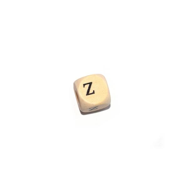 Lettre Z cube 12 mm bois naturel écriture noir - Photo n°1