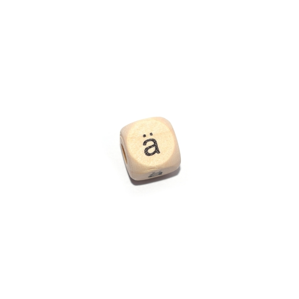Lettre Ä cube 12 mm bois naturel écriture noir - Photo n°1