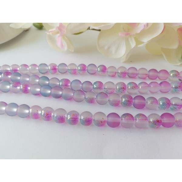 Perles en verre dépoli feuille d'or 8 mm violet  x 10 - Photo n°2