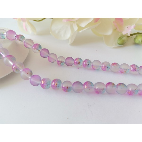 Perles en verre dépoli feuille d'or 8 mm violet  x 10 - Photo n°1
