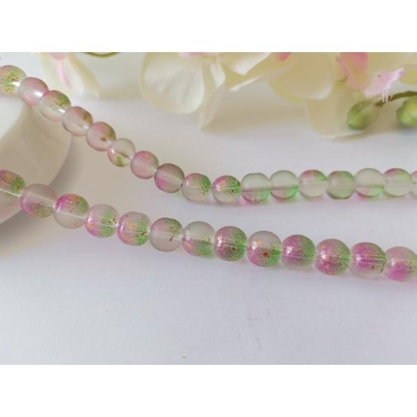 Perles en verre dépoli feuille d'or 8 mm violet vert x 10 - Photo n°1