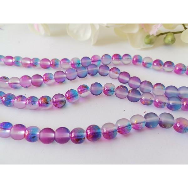 Perles en verre dépoli feuille d'or 8 mm violet bleu x 10 - Photo n°2