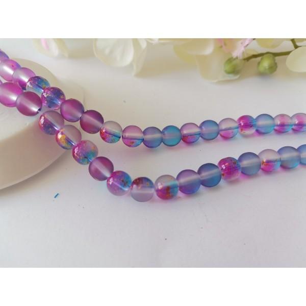 Perles en verre dépoli feuille d'or 8 mm violet bleu x 10 - Photo n°1