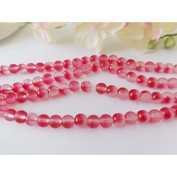 Perles en verre dépoli feuille d'or 8 mm rouge x 10 - Photo n°2