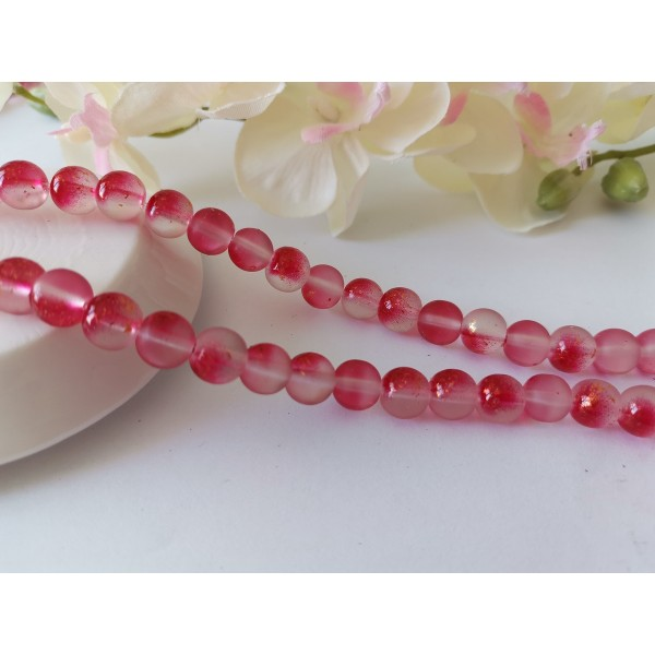 Perles en verre dépoli feuille d'or 8 mm rouge x 10 - Photo n°1