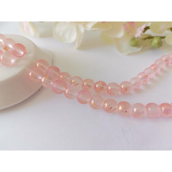 Perles en verre dépoli feuille d'or 8 mm saumon  x 10 - Photo n°1