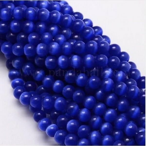 Fil de 63 perles ronde naturelle 6 mm OEIL DE CHAT BLEU MARINE - Photo n°1