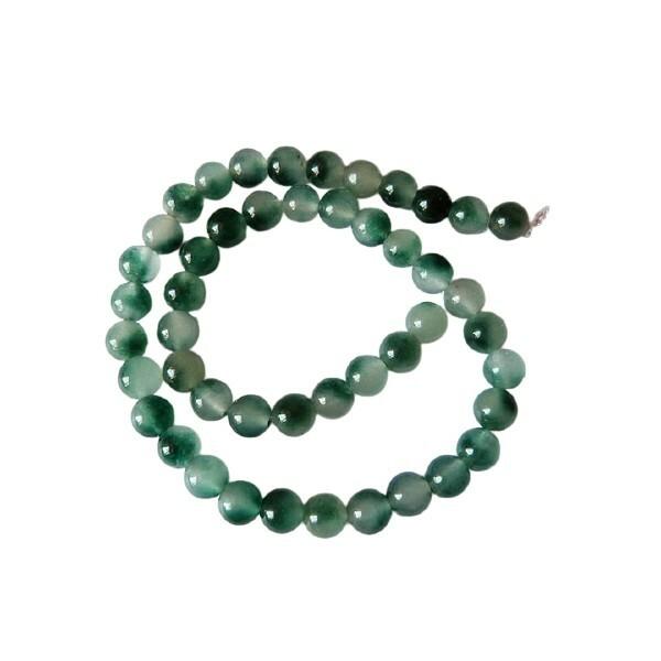 20 perles ronde naturelle en jade deux couleurs 8 mm VERT - Photo n°1