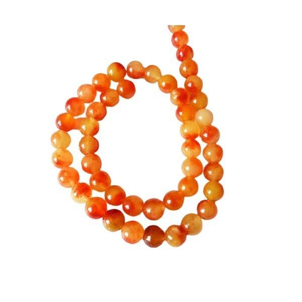 20 perles ronde naturelle en jade deux couleurs 8 mm ORANGE A - Photo n°1