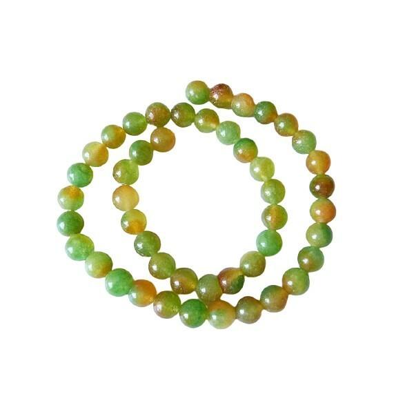 20 perles ronde naturelle en jade deux couleurs 8 mm VERT JAUNE - Photo n°1