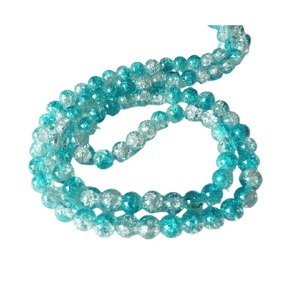 30 perles ronde de verre craquelé 8 mm CRISTALBLEU CLAIR - Photo n°1