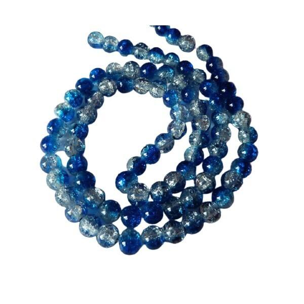 30 perles ronde de verre craquelé 8 mm CRISTAL BLEU FONCE - Photo n°1