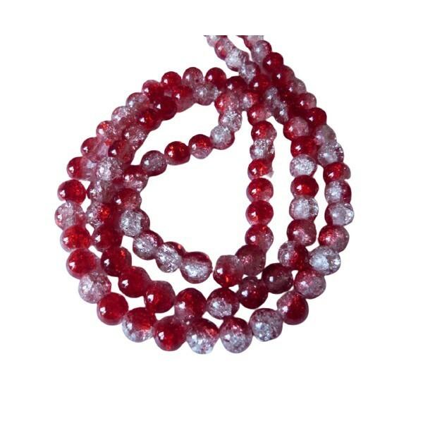30 perles ronde de verre craquelé 8 mm CRISTAL ROUGE - Photo n°1