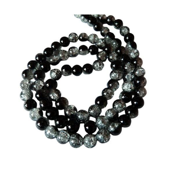 30 perles ronde de verre craquelé 8 mm CRISTAL NOIR - Photo n°1