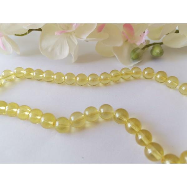Perles en verre 8 mm jaune brillant x 20 - Photo n°2