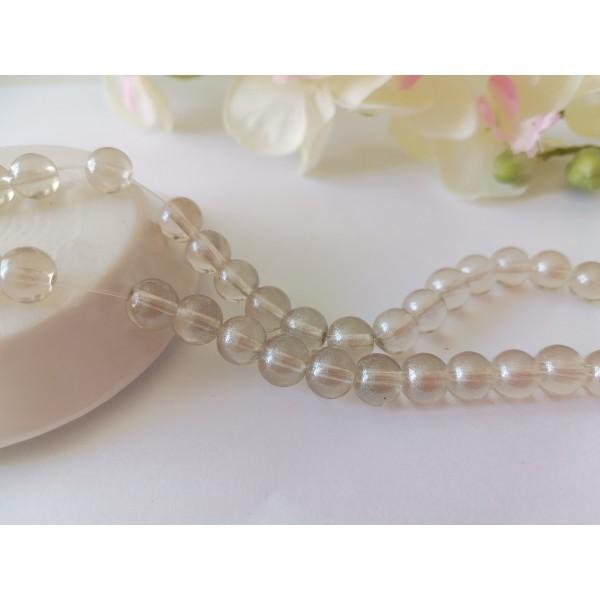 Perles en verre 8 mm argenté brillant x 20 - Photo n°1