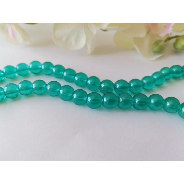 Perles en verre 8 mm turquoise brillant x 20 - Photo n°2
