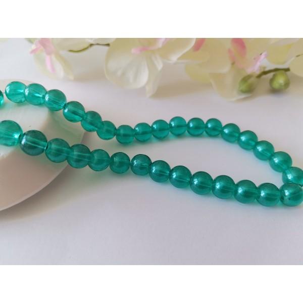 Perles en verre 8 mm turquoise brillant x 20 - Photo n°1