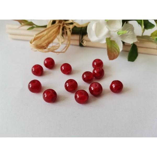 Perles en verre peint craquelé 8 mm rouge x 20 - Photo n°3