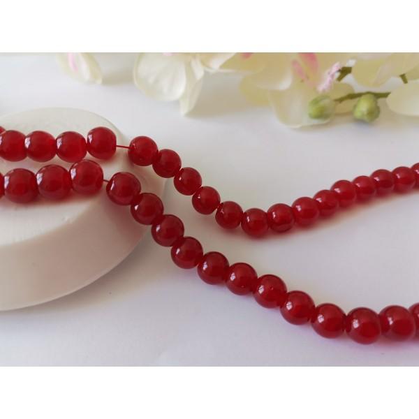 Perles en verre peint craquelé 8 mm rouge x 20 - Photo n°1
