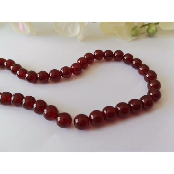 Perles en verre peint craquelé 8 mm bordeaux brun x 20 - Photo n°2