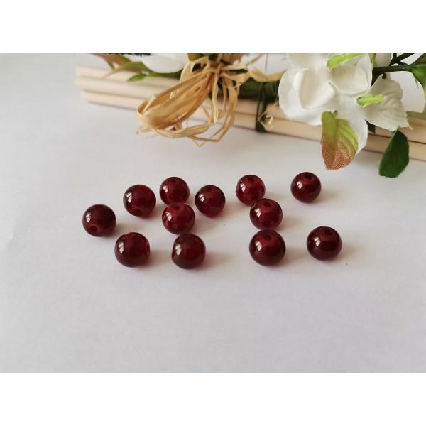 Perles en verre peint craquelé 8 mm bordeaux brun x 20 - Photo n°3