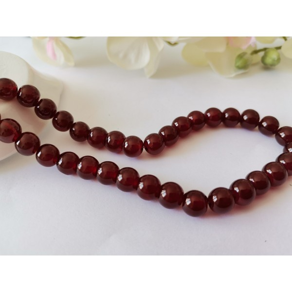 Perles en verre peint craquelé 8 mm bordeaux brun x 20 - Photo n°1
