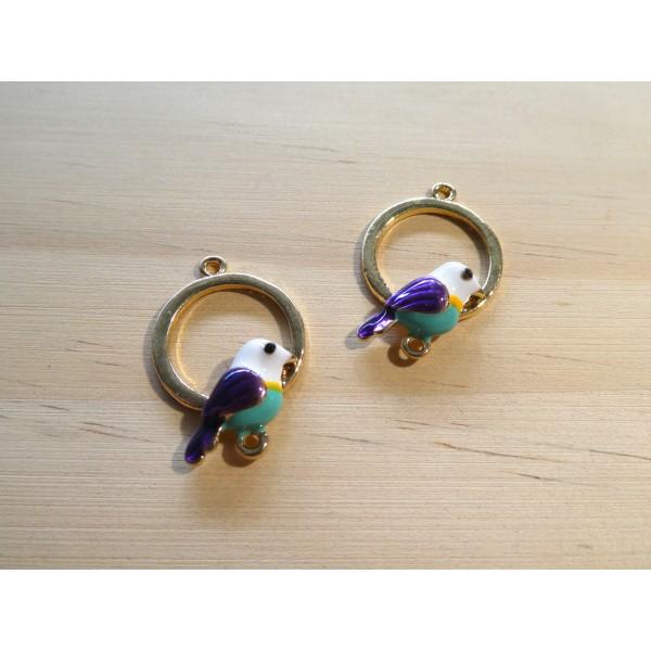 2 Connecteurs ronds 25*17mm avec oiseau émaillé violet / vert - alliage de zinc doré - Photo n°1