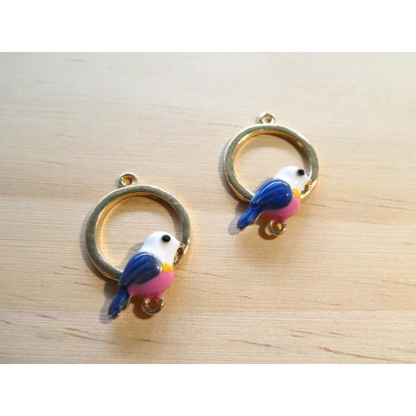 2 Connecteurs ronds 25*17mm avec oiseau émaillé bleu / rose - alliage de zinc doré - Photo n°1