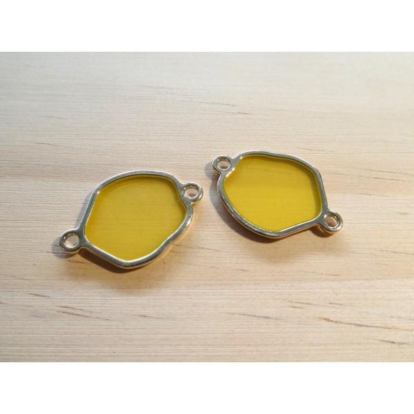 2 Connecteurs forme irrégulière 24*16mm résine jaune translucide et doré - Photo n°1