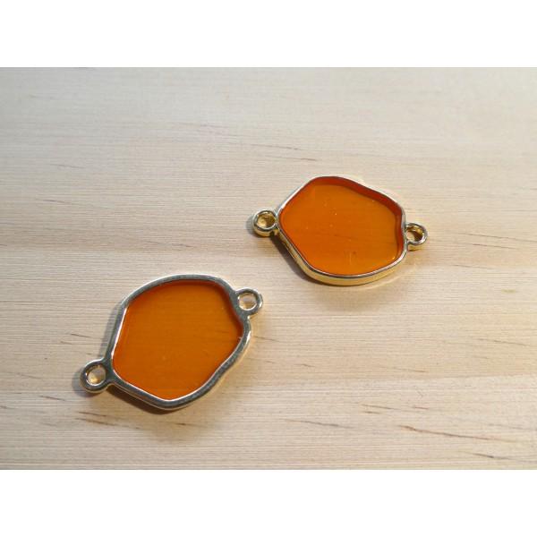 2 Connecteurs forme irrégulière 24*16mm résine orange translucide et doré - Photo n°1