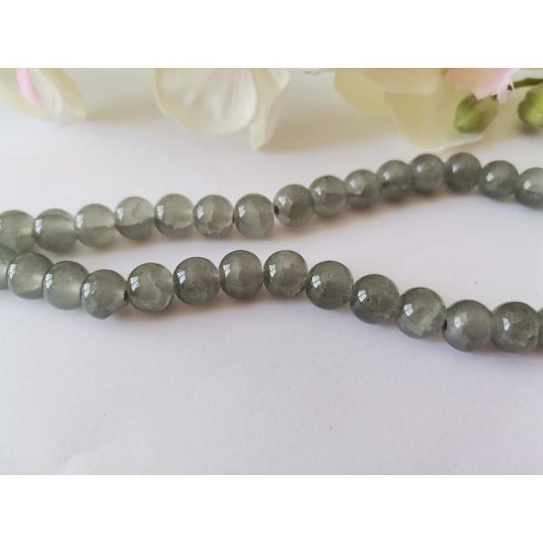 Perles en verre peint craquelé 8 mm grise x 20 - Photo n°2